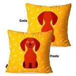 Capa de Almofada Avulsa Amarelo Dog Frente Costa