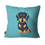 Capa de Almofada Avulsa Cachorro Azul Basset