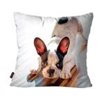 Capa de Almofada Avulsa Cachorro Branco Bulldog Francês