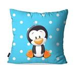 Capa de Almofada Avulsa Infantil Azul Pinguim