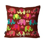 Capa de Almofada Avulsa Infantil Vinho Elefantes
