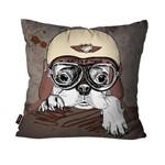 Capa de Almofada Avulsa Marrom Cachorro Aviador
