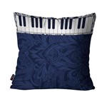 Capa de Almofada Avulsa Música Azul Teclado