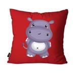 Capa de Almofada Avulsa Vermelho Hipopótamo