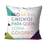 Capa de Almofada Decorativa Avulsa Branco Frases Dias Coloridos