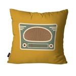 Capa de Almofada Decorativa Avulsa Ocre Retrô Rádio Antigo