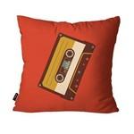 Capa de Almofada Decorativa Avulsa Vermelho Retrô Fita de Música