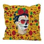 Capa de Almofada em Poliéster - Frida Kahlo Face And Flowers