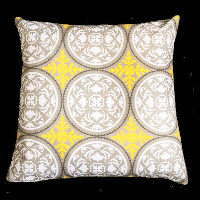 Capa de Almofada Étnica Amarela 45x45 Cm