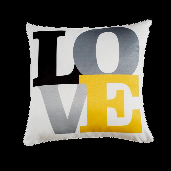 Capa de Almofada Love Cinza e Amarela