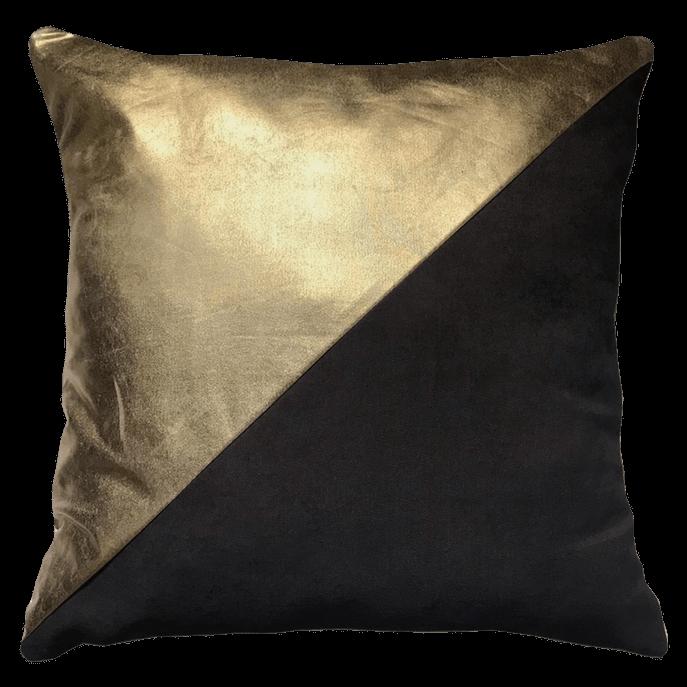 Capa de Almofada Preta com Dourado - 50x50 Cm 50x50 Cm