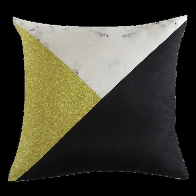 Capa de Almofada Triângulo Preto e Dourado
