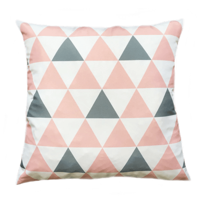 Capa de Almofada Triângulos Rosa 45x45 Cm