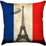 Capa para Almofada França Torre Zeppelin Colorida Poliéster (40x40cm) - Haus For Fun