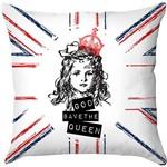 Capa para Almofada God Save The Queen Colorida Poliéster (40x40cm) - Haus For Fun