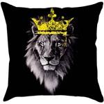 Capa para Almofada Lion Preta Poliéster (40x40cm) - Haus For Fun
