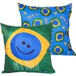 Capa para Almofada Meu Brasil Bandeira 37x32x12,5cm Poliéster - Uatt?