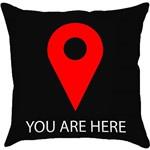 Capa para Almofada You Are Here Preta/Vermelha (40x40cm) - Haus For Fun