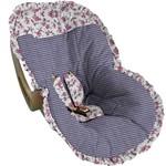 Capa para Bebe Conforto Xadrez Marinho com Floral - Soninho de Bebê
