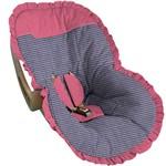 Capa para Bebê Conforto Xadrez Marinho com Pink - Soninho de Bebê