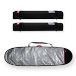 Capa Prancha Funboard Refletiva e Acolchoada 7'0 a 7'4 + Tubo Rack Espuma 40cm - Maori Extreme