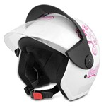 Capacete Aberto Moto Pro Tork Liberty Three For Girls Branco e Rosa