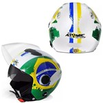 Capacete Aberto Moto Pro Tork Motoqueiro New Atomic Brasil Viseira Solar - Pro Tork