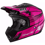 Capacete Feminino PRO TORK CROSS TH1 Shield PRETO-ROSA