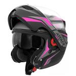 Capacete Feminino PRO TORK NEW ATTACK Articulado Robocop Neon PRETO-ROSA