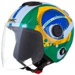 Capacete Pro Tork New Atomic Brasil Aberto Sub Viseira Solar Fumê 58