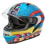 Capacete Tutto Moto Racing Multicolore C/ Vseira Solar Interna