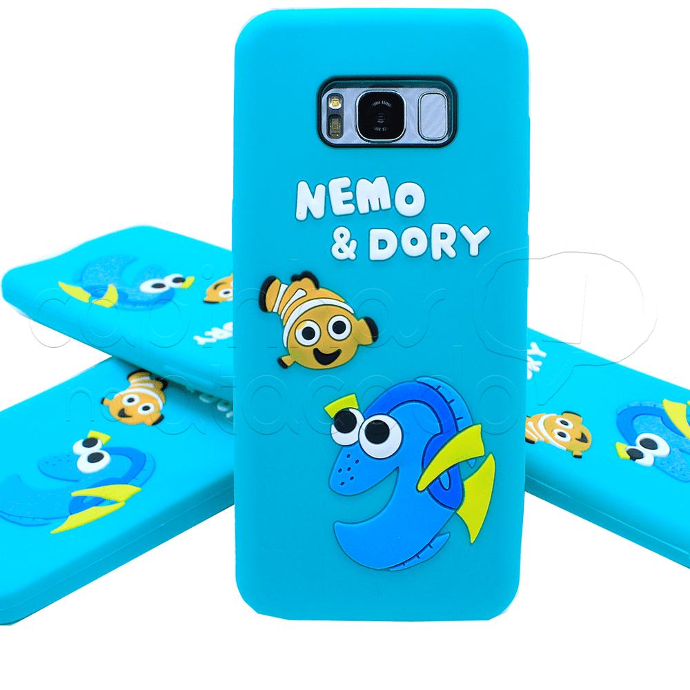 Capinha de Silicone 3D Nemo e Dory Galaxy S7 Edge