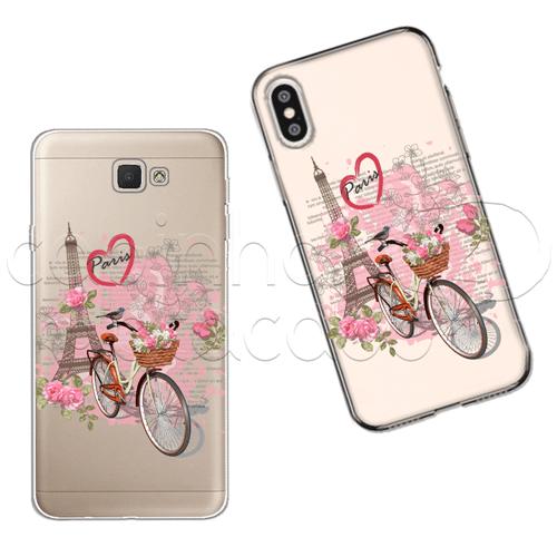 Capinha Personalizada - Flores e Paris Galaxy J2 Prime