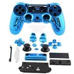 Carcaça Cromada para Controle Mod Jdm-001, Jdm-011 e Jdm-020 para Playstation 4 Play 4 Ps4 Azul