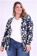 Cardigan Estampado Plus Size Azul Marinho PP