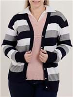 Cardigan Plus Size Feminino Azul Marinho/branco