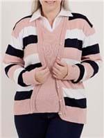 Cardigan Plus Size Feminino Rosa/marinho