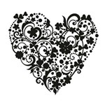 Carimbo em Borracha Coração de Arabescos Clp-033 - Litoarte