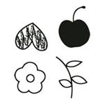 Carimbo em Borracha Flor Frutas e Coração Clp-069 - Litoarte