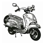 Carimbo em Borracha Litoarte CLP-063 Moto Lambreta