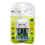 Carregador de Pilhas Aa Aaa Bateria 9v C/ 4 Pilhas Aaa 1100mah Flex Fx-c03 Aaa