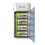 Carregador de Pilhas Aa Aaa C D e Baterias 9v Flex Universal Bivolt Inmetro com 4 Pilhas D e Led Fx C06
