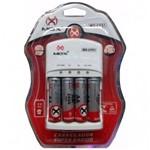 Carregador Pilhas AA + AAAA + Bateria 9V MOX Carga Rápida + Pilhas 2600 Mah