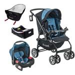 Carrinho de Bebe Burigotto AT6 K com Bebe Conforto e Base e Ninho Pramette Preto e Azul