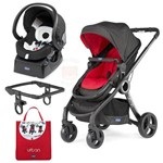 Carrinho de Bebe Chicco Urban com Bebe Conforto Fix Fast Black Night + Color Pack Red + Adaptador
