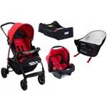 Carrinho de Bebe com Bebe Conforto - Base e Ninho Pramette Burigotto Ecco Red