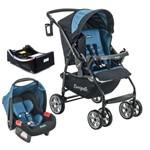 Carrinho de Bebe com Bebe Conforto e Base Burigotto AT6 K Preto e Azul