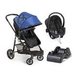 Carrinho de Bebe com Bebe Conforto e Base Gero Preto e Azul - Galzerano