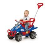 Carrinho de Passeio Quadriciclo com Empurrador Pedal e Alça Cross Turbo Calesita Azul