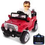 Carrinho Eletrico Infantil Jipe Trilha Vermelho Controle Remoto Auxiliar P2 Mp3 12v 2 Portas